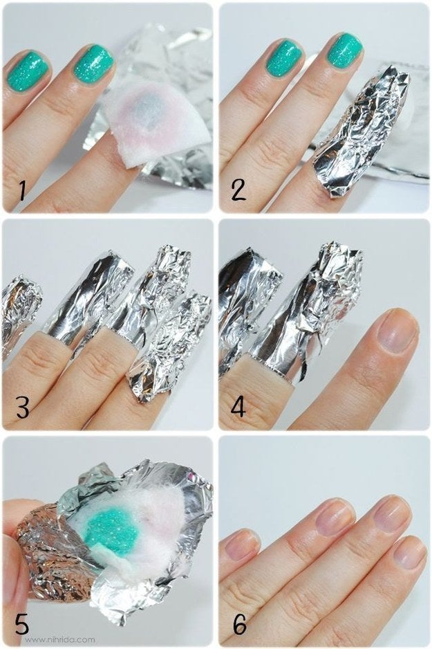 Soak a cotton ball in remover, put it on your nail, wrap the nail in tin foil, and let it chill for 10–15 minutes. After that, it'll wipe right off!