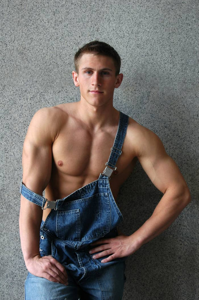 That classic work attire: overalls over nothing.