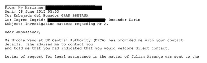 The beginning of Marianne Ny's email to Ecuador's London embassy (email addresses redacted by BuzzFeed News).
