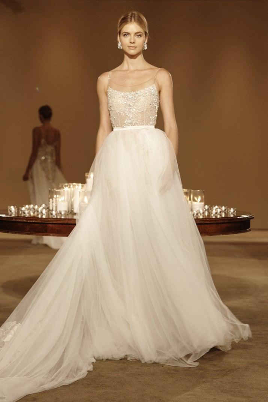 Discount 2015 Sexy Elegant Sheer Wedding Dresses A Line Sheer Crew ...