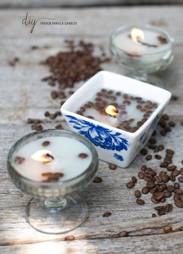 These candles made with vanilla and coffee beans.