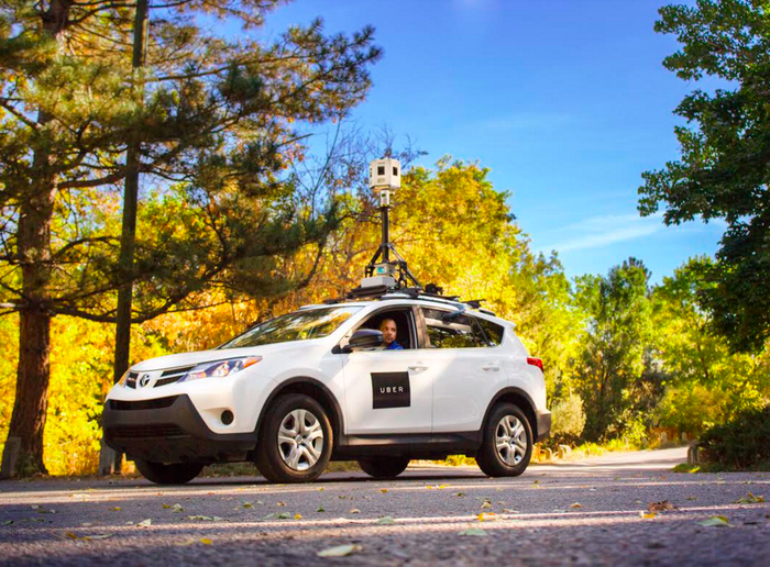 Uber mapping car using Bing's 3D image-capturing technology.