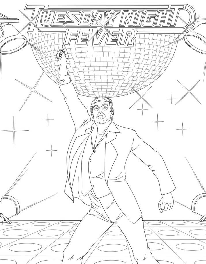 The Book Combines Illustrations Of Donald Trump With Famous Pop Culture References Like Saturday Night Fever