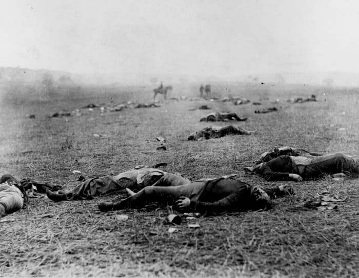 In this picture taken in 1863, dead soldiers lie on the battlefield at Gettysburg, Pennsylvania, where more than 50,000 Union and Confederate troops were killed, injured, or captured during the Civil War.
