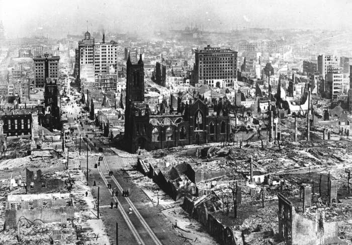 In this 1906 photo, the severe damage of an earthquake in San Francisco is shown throughout the city. The earthquake spurred a devastating firestorm that claimed the lives of about 3,000 people and destroyed about 80% of San Francisco.