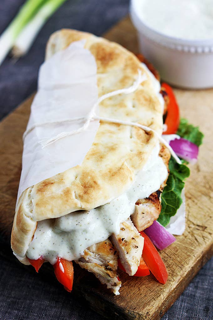 Tzatziki is a yogurt-based sauce that's totally refreshing and way healthier than mayo. Make the gyro at home in the morning or the night before with pita, chicken — or any leftover meat you have — and veggies, and pack the tzatziki on the side. Recipe here.