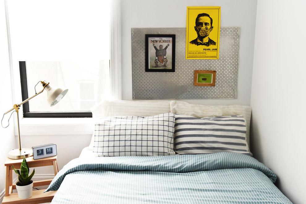 Wenn Dein Bett Kein Kopfteil Hat, Kann Etwas Einfaches Wie Eine Platte Aus  Metall Oder Holz Den Selben Optischen Effekt Haben.
