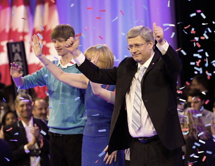 Stephen Harper celebrates his election win in 2011. How many more does he have in him??
