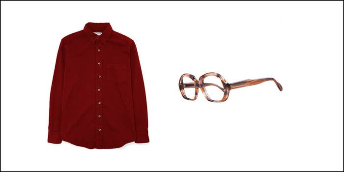 Mustache mandatory.Vintage Marbled Brown Plastic Eyeglasses | Cotton Twill Long Sleeve Button-Up with Pocket