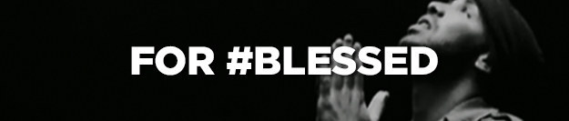 """For #blesses"" written on top of Drake looking up with his hands pressed together like he's praying"