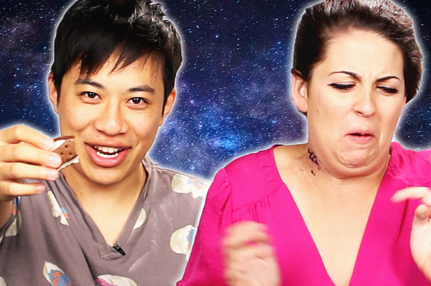 www.buzzfeed.com: People Try Novelty Astronaut Desserts For The First Time