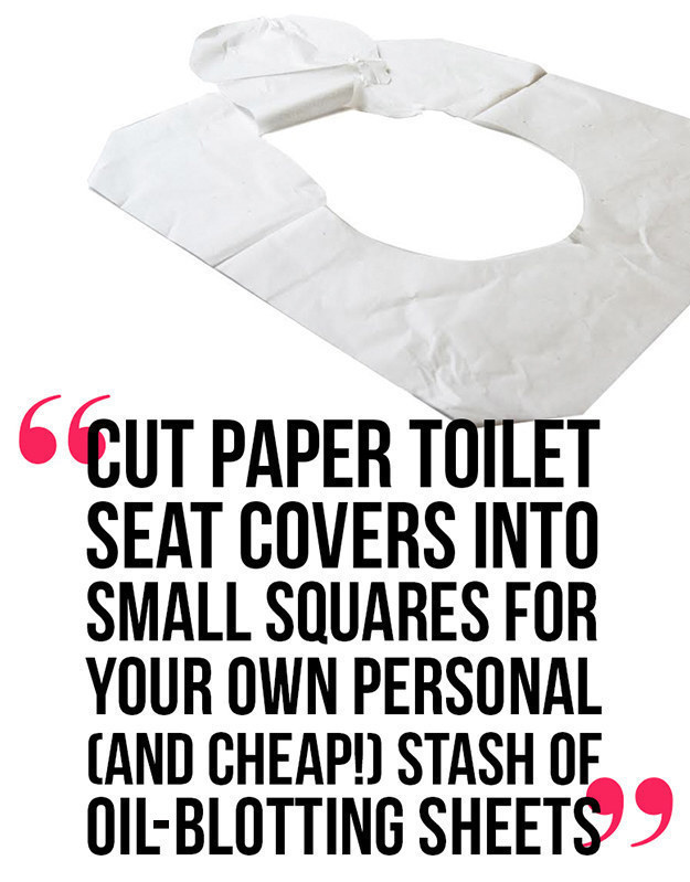 Toilet seat covers make excellent oil blotting sheets.