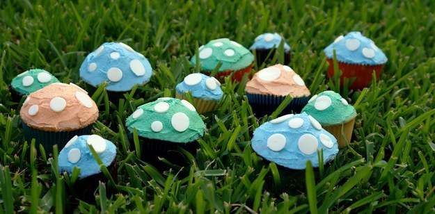 Create a field of toadstool cupcakes with white chocolate spots.