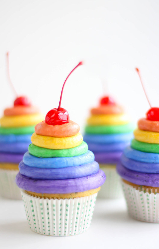 Once you learn the piping basics, try your hand at these cupcakes topped with layers of rainbow-hued frosting.