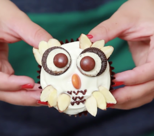 Use almond slices to make feathers for a cupcake owl.