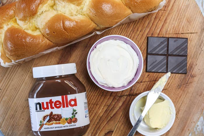 Brioche, Nutella, Marscapone, Dark Chocolate and Butter. (Note: Don't substitute the mascarpone – it'll make your toastie creamy, rich, and sweet. Don't substitute another soft cheese, like ricotta, as it'll be too watery.)