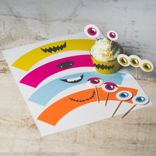 Or forgo elaborate edible decorations and print out some monster cupcake paper covers and toppers.