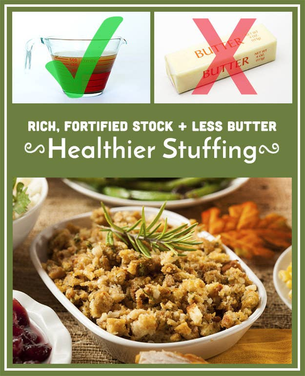 The fortified stock has a lot of flavor, so the finished stuffing won't feel any less decadent or savory, and there will still be enough fat in the stuffing to keep it from drying out.