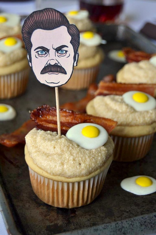 Make a batch of maple breakfast cupcakes that Ron Swanson would approve of.