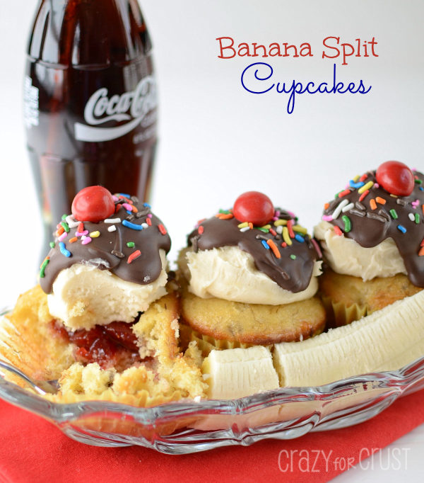 Make a banana split with cupcakes instead of ice cream.