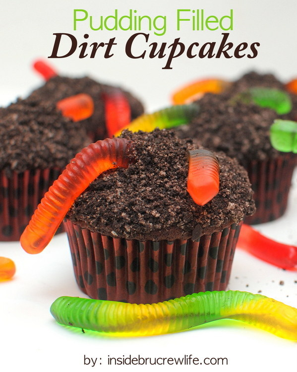 "Coat a cupcake with ""dirt"" and fill it with ""mud."""