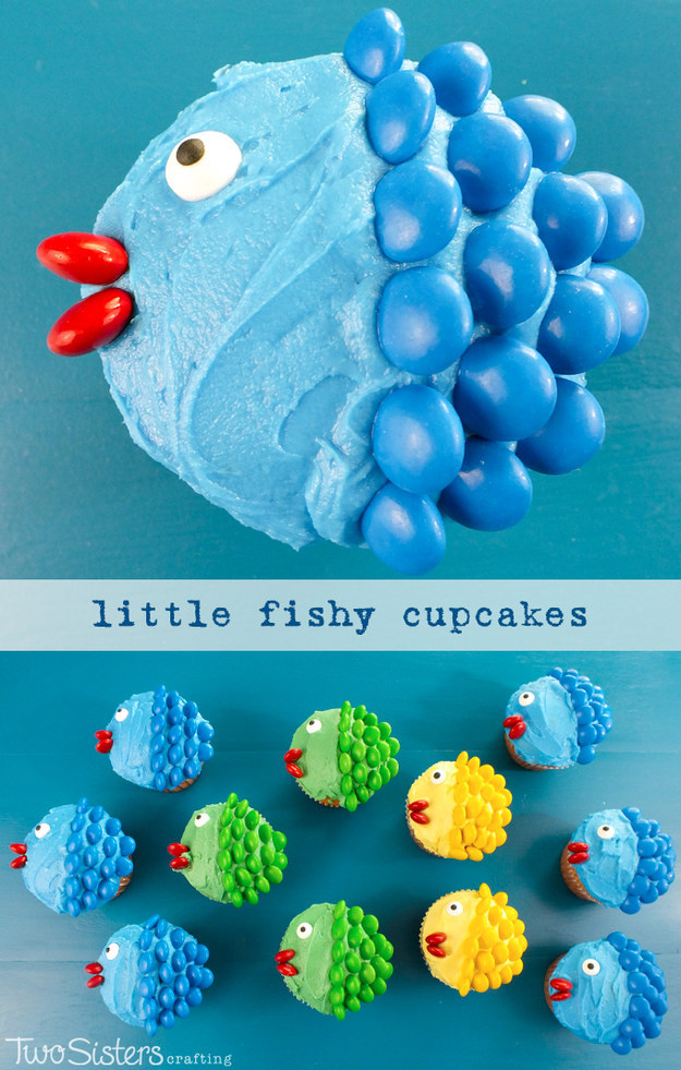 Create a school of fish with M&M scales.