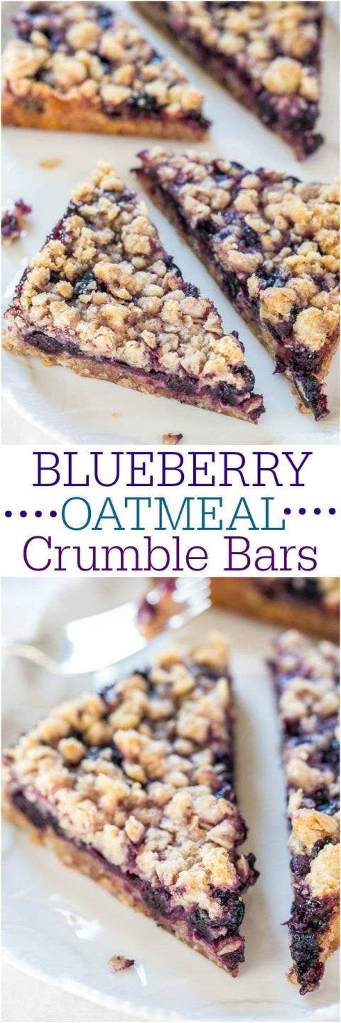 Recipe for blueberry oatmeal bars here.