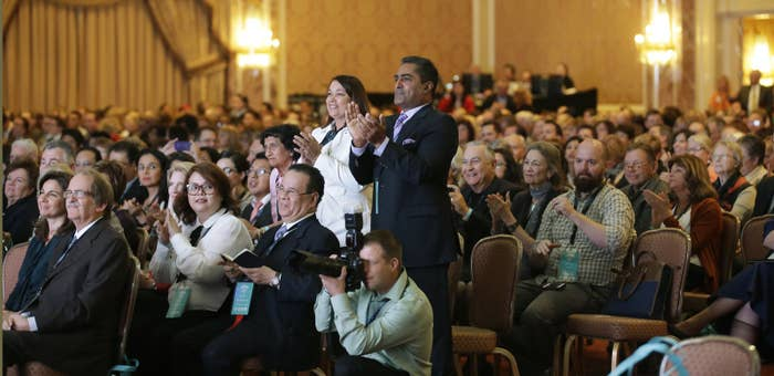 People look on during the World Congress of Families.