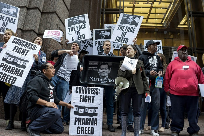 Activists protest outside Turing's New York office, on Oct. 1, 2015.