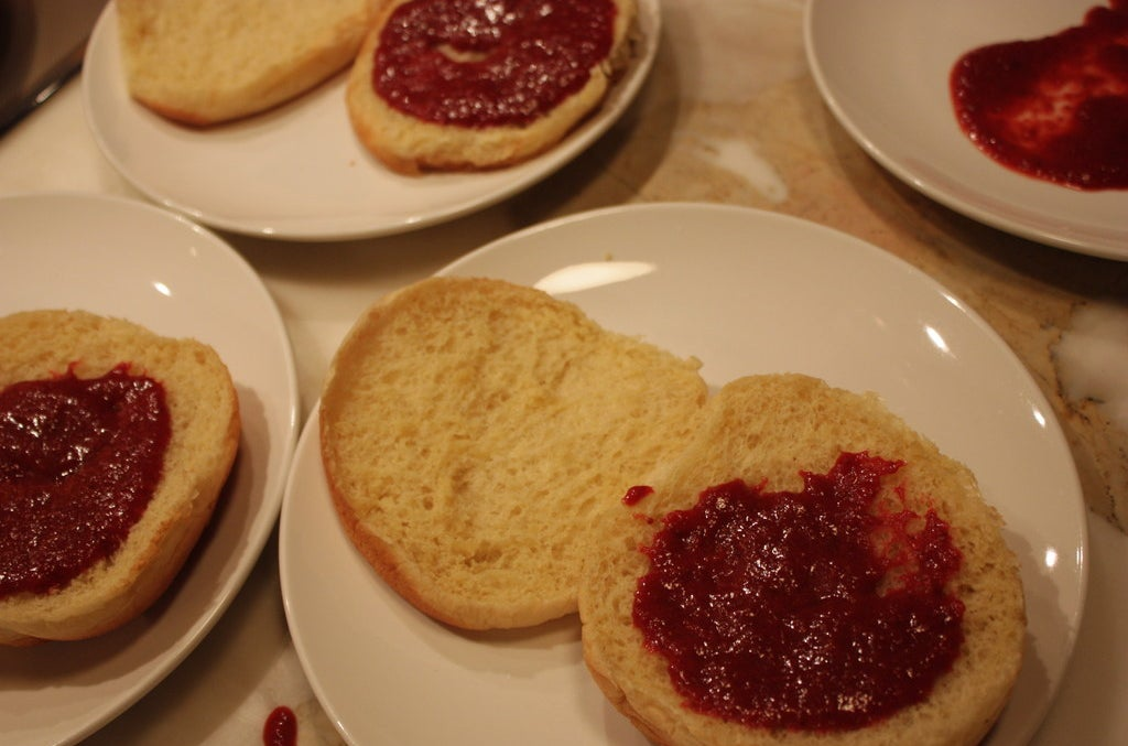 Burger buns with strawberry ketchup.