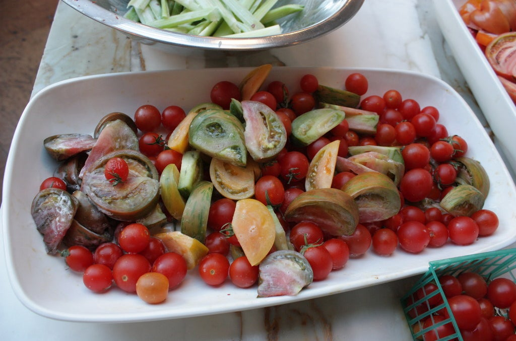 Tomatoes to go with shrimp, celery, vanilla, and coconut.
