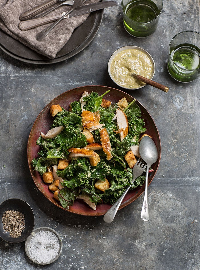 Recipe for kale Caesar salad with roasted chicken here.