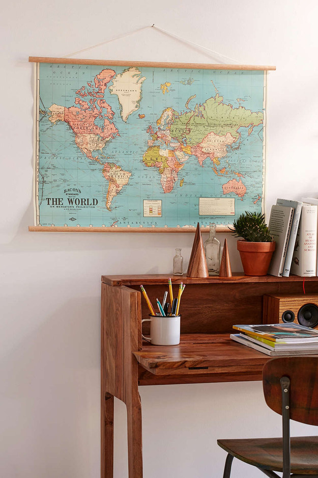 Or forgo frames and get a vintage-inspired pull-down map.
