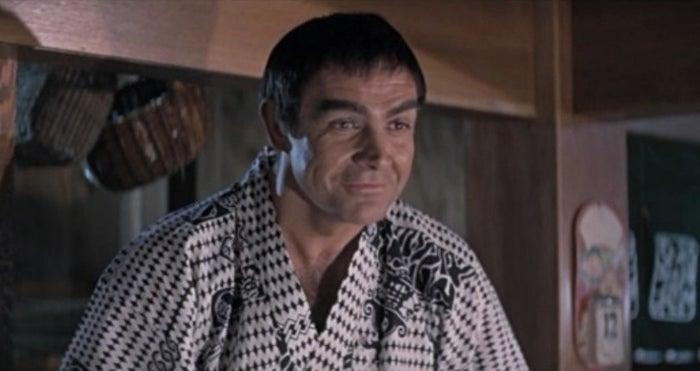 Dans On ne vit que deux fois (1967). Pauvre Sean Connery, on n'y croit pas une seconde.