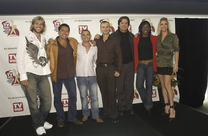 Courtney Act (far right) with (L-R) Andrew G, Jamie Durie, Warren Sonin, Gavin Atkins, Mark Holden, and Marcia Hines at the 2004 TV Week Logie Awards nominations in Sydney.