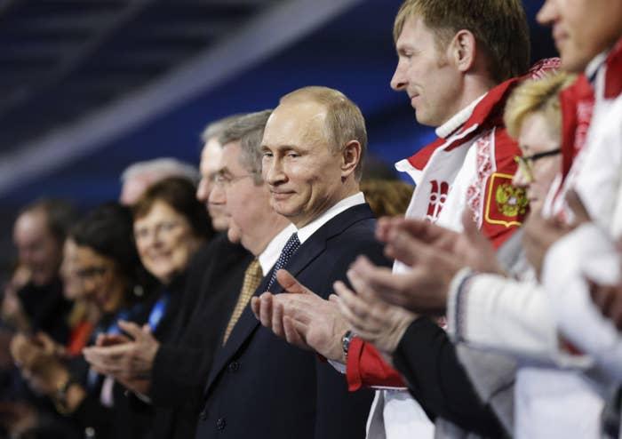 Russian President Vladimir Putin attends the 2014 Sochi Winter Olympics Closing Ceremony.