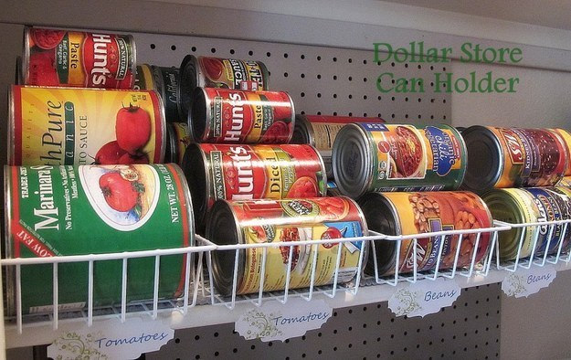 Pick out some small baskets for canned food organization.