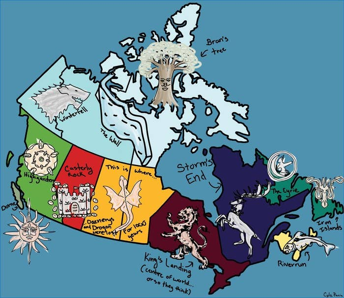Here's A Map Of Canada If It Were Westeros on