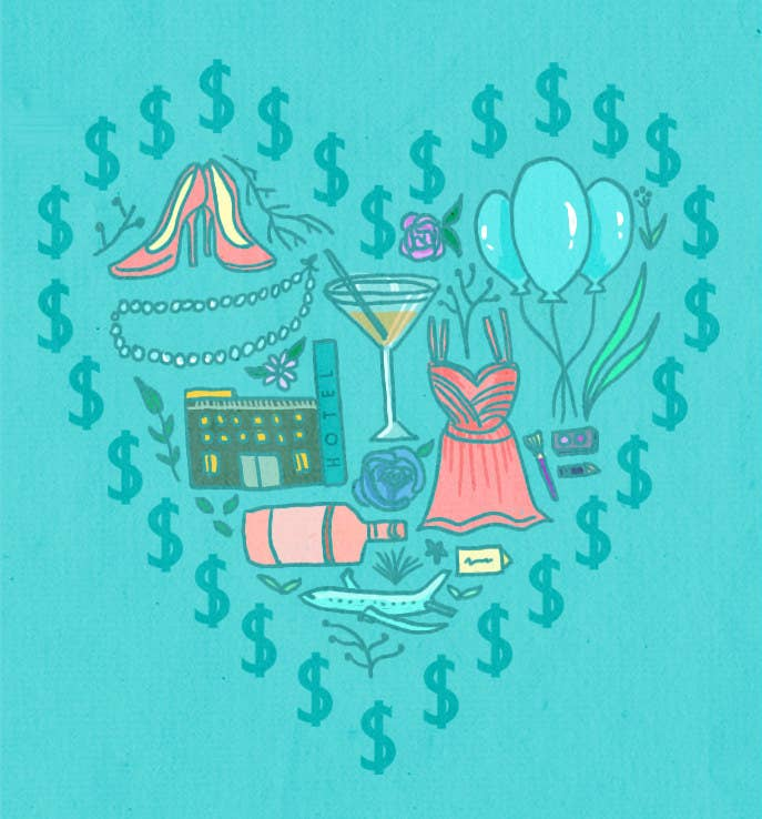 It's amazing how quickly a paycheck can reinvent itself as a ruffled, sea green cocktail dress and a handful of genital-shaped confetti. There's no wide-ranging survey to assess the average national cost of being a bridesmaid, but $1,500 is often bandied about. In the pursuit of non-scientific studies and pure curiosity, we recently asked women tell us much they spent, how it broke down, and how they felt about it. The lowest amount we got was $60 and the highest was $3,000...but after reading all 66 responses, it was clear that it's not total the amount spent, but how it's spent that really matters to most maids.Here are some of their stories...