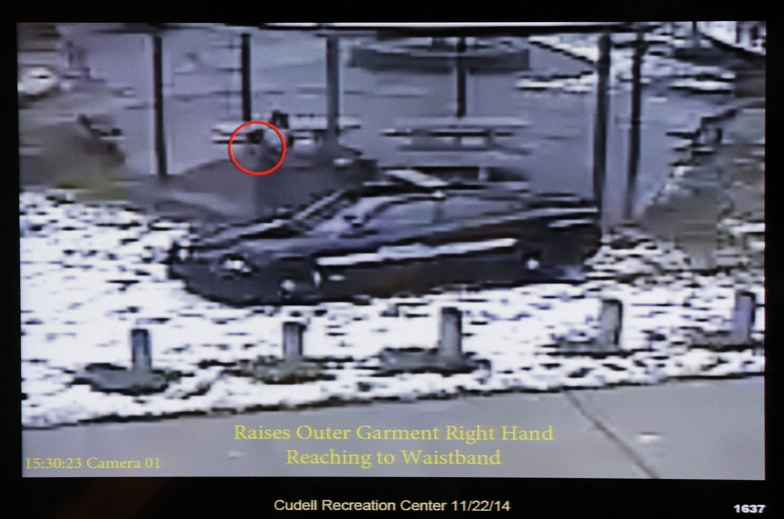 Surveillance video showing officers arrive at Cudell Park where Tamir Rice was playing.
