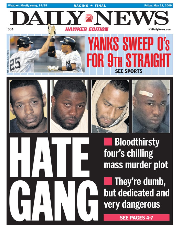 The front page of the Daily News on May 22, 2009 showing Onta Williams, David Williams, Laguerre Payon and James Cromitie.