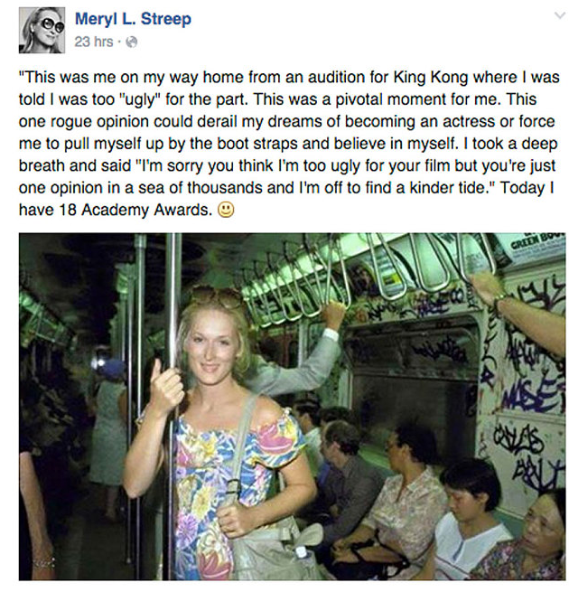 The original post from the Meryl L. Streep Facebook page, which has since been removed.