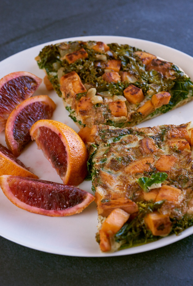 Serve half the frittata with half a blood orange.