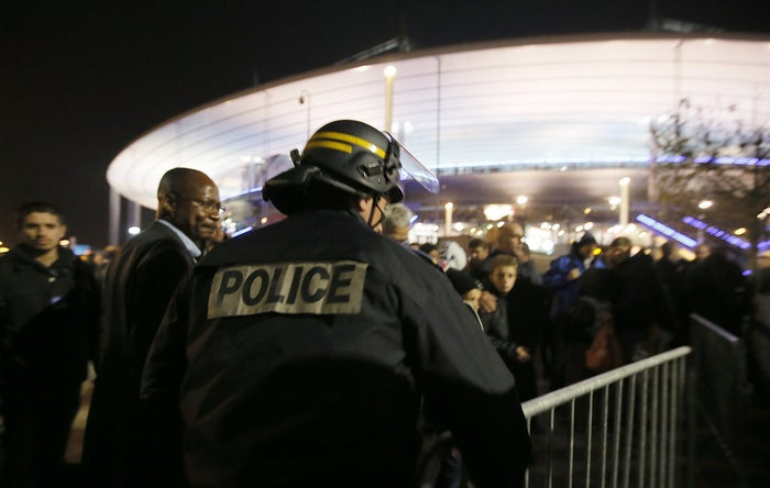"The first strike came at Gate D of the Stadium of France — in the Paris suburb of Saint-Denis — during a friendly match between the French and German national teams. A suicide bomber detonated a belt of explosives laced with bolts ""to worsen the blast,"" Molins said.The attacker died, and another person standing nearby was killed in the explosion."