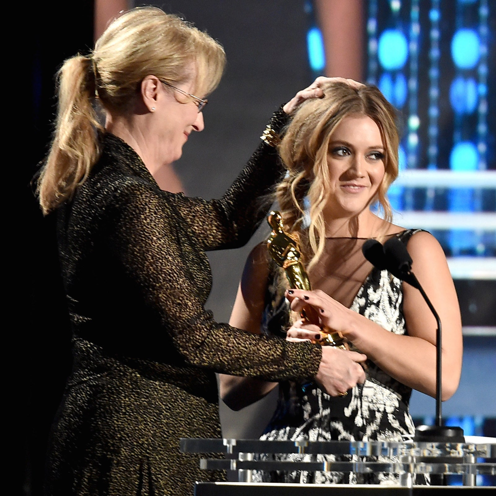 Actor Meryl Streep presents the Jean Hersholt Humanitarian Award to Billie Lourd, on behalf of her grandmother Debbie Reynolds, at the Governors Awards.