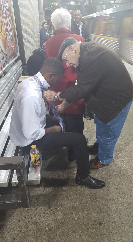 This Heartwarming Photo Captures The Moment An Elderly Couple Helped A Young Man Tie His Tie
