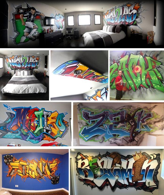 Un graffiti classique à son nom! Donner un look urbain à la chambre avec un lettrage graffiti à leur effigie intégrant des éléments qu'ils aiment. Un graffiti personnalisé et des éléments de décoration intérieure agencés comme un luminaire ou les portes de garde-robe apporte un style unique incomparable.