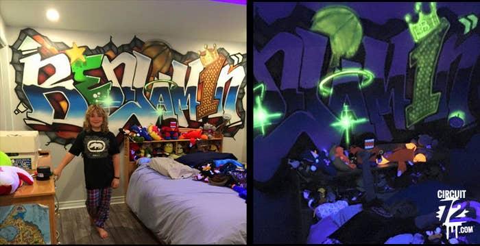 Une peinture graffiti fluorescente qui s'illumine lorsque les lumières sont éteintes est une idée déco qui fera la chambre de votre enfant sont endroit favori de toute la maison. Les possibilités sont multiples et dignes d'un décor intérieur professionnel.