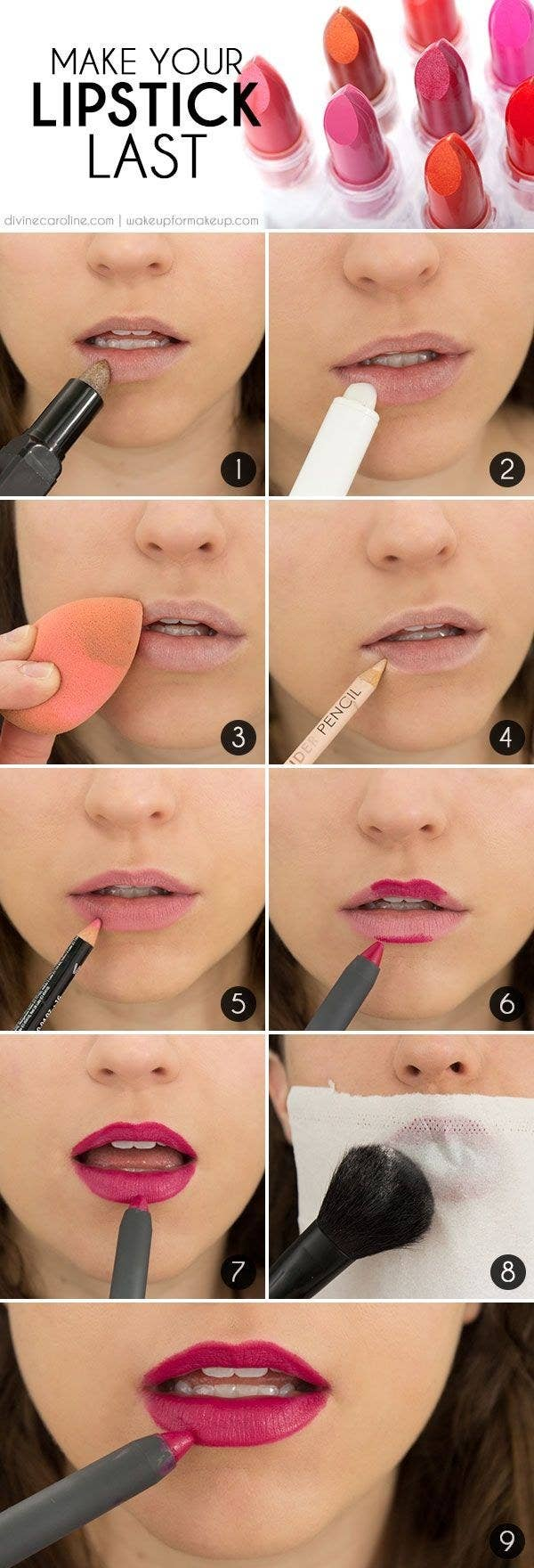 Antes de comenzar a delinear con tu lápiz de color, marca tu boca por fuera con un lápiz nude. Una vez que termines con tu lipstick, coloca un kleenex en tu boca y aplica polvo traslúcido.