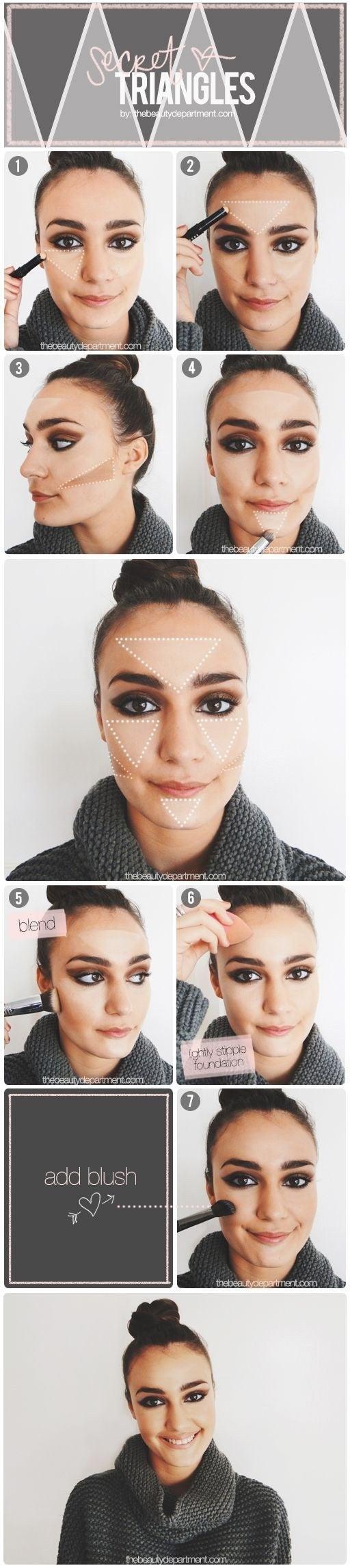 Define tu rostro con triángulos gruesos en frente, mejillas y barbilla, con iluminador, y coloca el bronzer en triángulos escalenos a la mitad de tus cachetes.